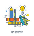 the generation of ideas and creative thinking vector image vector image