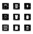Trash can icons set grunge style vector image vector image