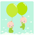 twin babies with balloons vector image vector image