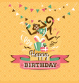 vintage birthday greeting card with a monkey vector image