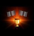 winner golden trophy with racing flags background vector image