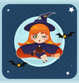 witch flying in front of the full moon with vector image