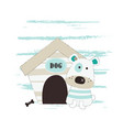 with cute little dog sitting next vector image