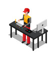 worker dealing with devices vector image