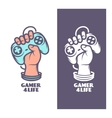 Gamer for life t-shirt design Hand with joystick vector image