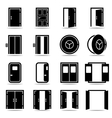 Open and closed doors icons set vector image