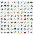 100 house icons set isometric 3d style vector image vector image