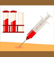 a syringe that draws blood from person s hand vector image