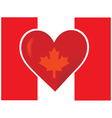 an image of the canadian flag with a big red heart vector image vector image
