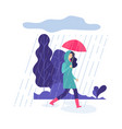 autumn rain park walking springtime rainy day vector image