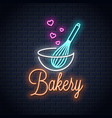 baking with wire whisk neon sign bakery neon vector image vector image