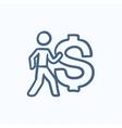 Businessman with big dollar symbol sketch icon vector image vector image