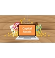 capital assets written on text laptop vector image