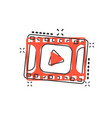 cartoon play button icon in comic style play vector image