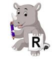 cartoon rhino holding pencil vector image vector image
