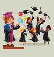 cheerful graduates on celebration ceremony flat vector image vector image