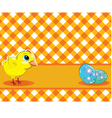 Chicken and painted eggs on a checkered background vector image vector image