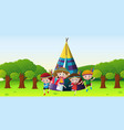 children playing red indians in park vector image vector image