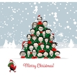 Christmas card funny people tree for your design vector image
