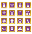 christmas icons set purple vector image vector image