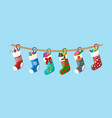 christmas sock stocking vector image vector image