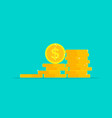 coin money stack pile gold dollar icon vector image vector image