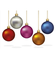 Color christmas ornaments hanging on gold thread