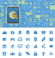 Computer Board with Tablet and Social Media Icons vector image