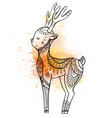 cute cartoon deer with boho pattern with vector image vector image