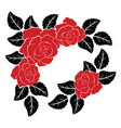 decoration with red roses and black leaves vector image vector image