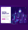 digital smart city isometric landing page banner vector image