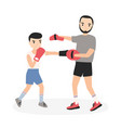 father and son dressed in sportswear practicing vector image vector image