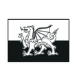 Flag of Wales monochrome on white background vector image