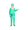 flat cartoon male doctor surgeon in uniform vector image