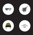 flat icons soldier helmet holiday spectacles and vector image vector image