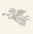 flying angel messenger sketch vintage vector image vector image
