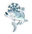 frozen salmon symbol vector image vector image