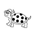 funny turtle cartoons outlined cartoon drawing vector image vector image