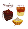 hand drawn watercolor cakes set vector image