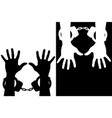 hands in handcuffs silhouette icons vector image