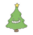 happy funny smiling christmas tree cartoon charact vector image vector image