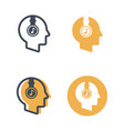 head with headphones four styles icons vector image