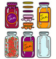 isolated jars set in retro style vector image