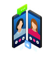 isometric mobile messenger chat online vector image vector image