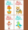 merry christmas collection dog snowman bird puppy vector image vector image