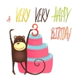 Monkey Cake Three Years Old with Happy Birthday vector image vector image