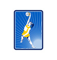 Netball player rebounding jumping for ball vector image vector image