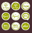 organic food hand drawn labels set vector image