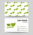 Organic natural food farmer business card vector image vector image