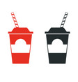 paper cup with a straw simple flat vector image vector image